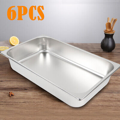 6-pan Full Size 4 Deep Steam Table Pans Bain-marie Catering Food Warmer Buffet