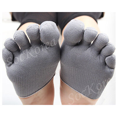 "12Pairs Lot Mens Gray""Skin contact surface is 100% cotton"" Toe Topper Half Socks"