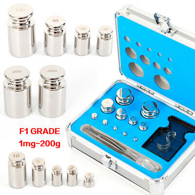 304 Stainless Steel Class F1 Precise Calibration Scale Weight Kit Set 1mg-200g