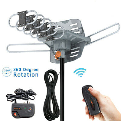 200 Mile Outdoor TV Antenna Motorized Amplified HDTV 1080P 4K 36dB 360° Rotation