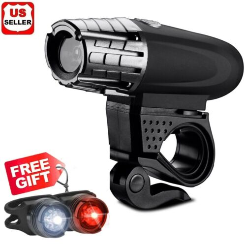 USB Rechargeable Bright LED Bicycle Bike Front Headlight and Rear Tail Light Set Bicycle Accessories