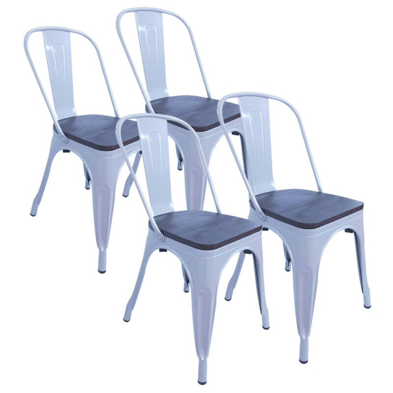 Set of 4 Wood Seat Cafe Bar Stool White Modern Bistro Style Metal Dining Chairs