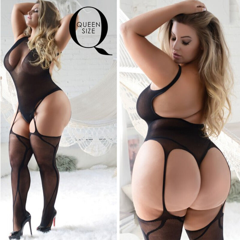 Bodysuit Lingerie Body Stocking Lace Fishnet Sexy Teddy Stretchy Queen Size Plus