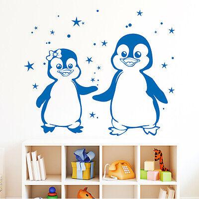 10713 Wandtattoo Loft Wandaufkleber Zwei Pinguine mit Sternen Tier Meer Ozean ()