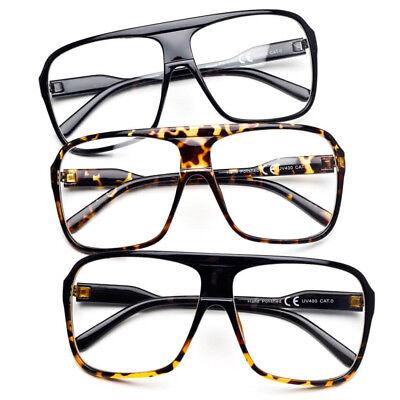 Übergröße Groß Quadratisch Rahmen Durchsichtige Linse Geek Nerd Brille