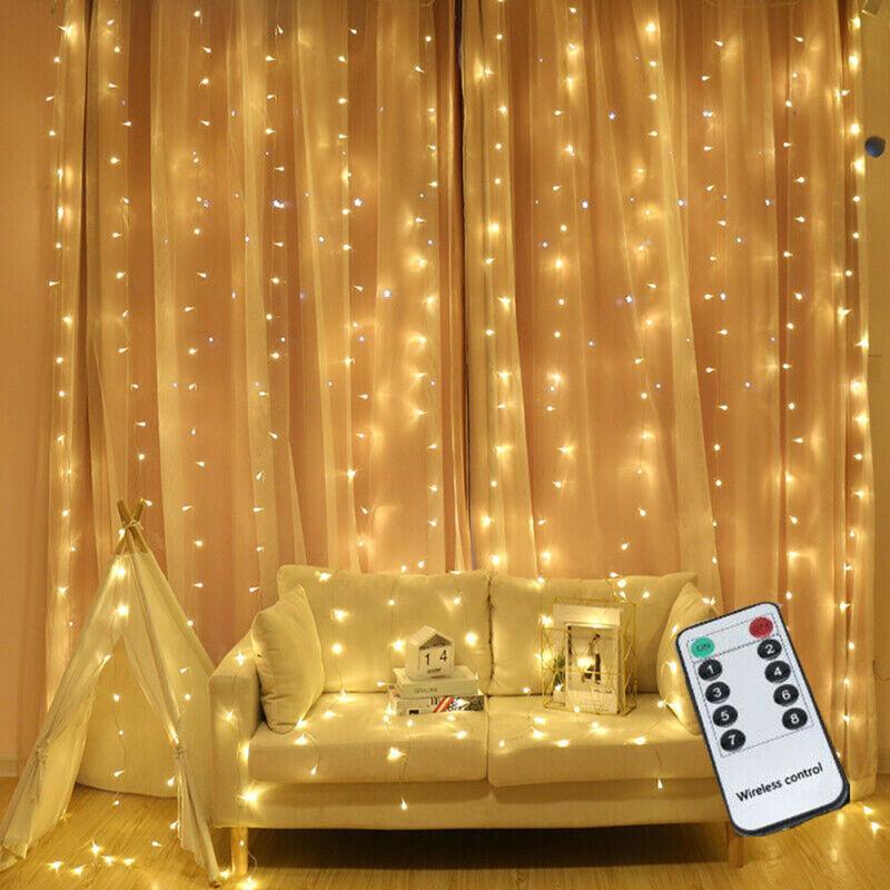 Xmas+300LED+Curtain+Fairy+Light+Indoor%2FOutdoor+Wedding+Party+Christmas+Snowflake
