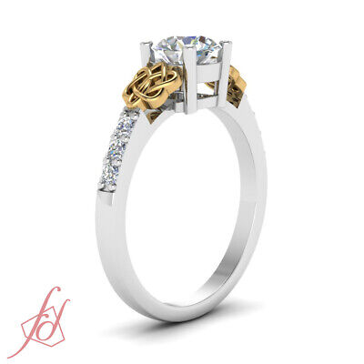 1.10 Ct Round Cut SI1-H Color Diamond Engagement Ring Pave Set 14K GIA Certified 2
