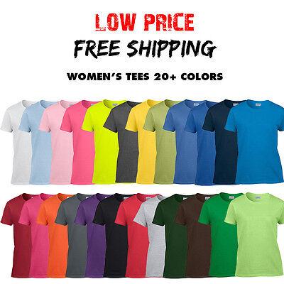 Women's Gildan T Shirt Ladies Blank Tee Ultra Cotton 20+ COL