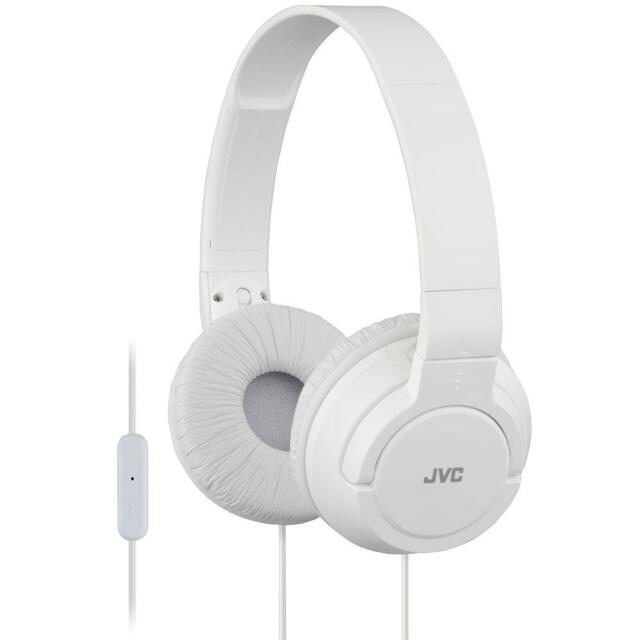 JVC HASR185 Lightweight Powerful Over Ear Headphones With Remote And Mic - White