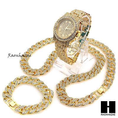 "Hip Hop diamond Techno Pave Watch 30"" Iced Out Cuban Stone Chain Bracelet Set"