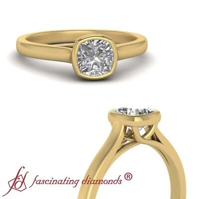 Cathedral Solitaire Trellis Engagement Ring With 3/4 Carat Cushion Cut Diamond