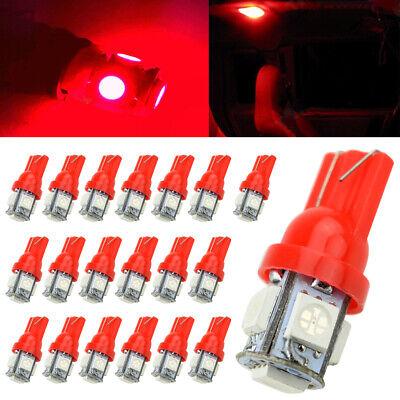 Red Led Light Bulb - 20X T10 Red 5050 5smd Wedge LED Interior Light Bulb W5W 194 168 2825 192 175 158