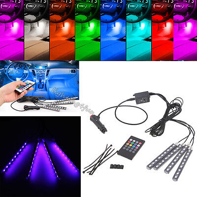 7 Color Wireless Remote Music Control In-Car Interior RGB LED Atmosphere Lights