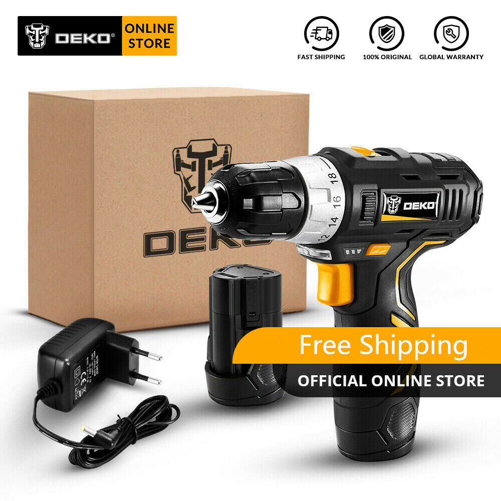DEKO 12V 32N.m 2-Speed Lithium-Ion Battery Electric Cordless
