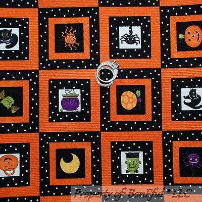 BonEful Fabric FQ Cotton Quilt Halloween Black Orange Sm Block Check Dot - Vintage Halloween Quilting Fabric