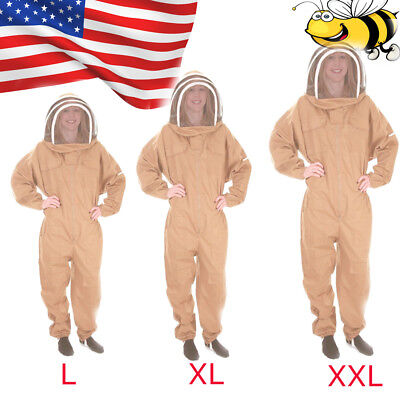New Professional Cotton Full Body Beekeeping Bee Keeping Suit W Veil Hood