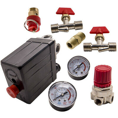 New Air Compressor Pressure Switch Control Manifold Regulator Gauges Fittings