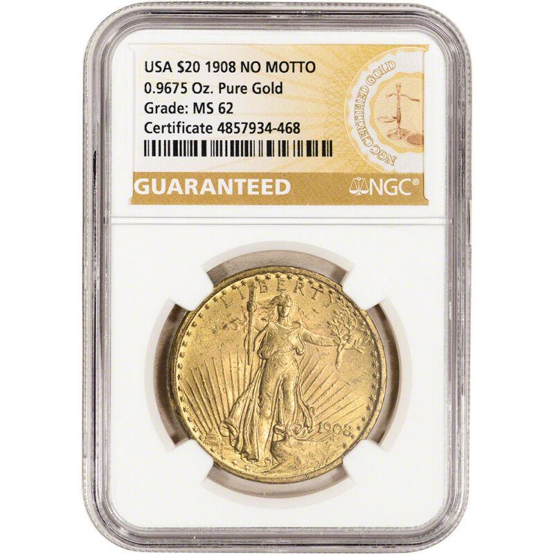 1908 No Motto US Gold $20 Saint-Gaudens Double Eagle - NGC MS62 Guaranteed Label