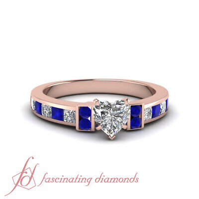 1.50 Ct Blue Sapphire Channel Set Engagement Ring With Heart Shaped Diamond GIA