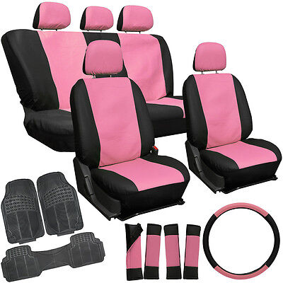 20pc Faux Leather Pink Black SUV Seat Cover Set + Heavy Duty Rubber Floor Mats