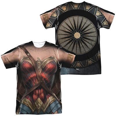 Wonder Woman Movie NEW WONDER WOMAN UNIFORM Costume 2-Sided Print Poly T-Shirt