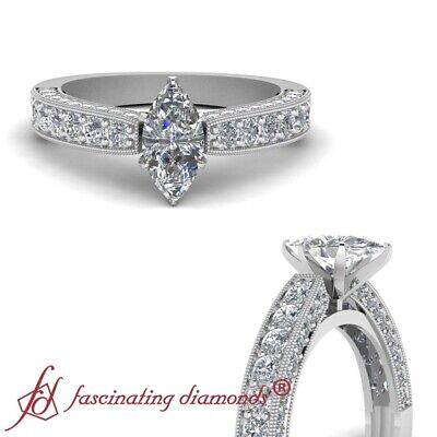 1.65 Ct Marquise Cut Diamond Cathedral Style Pave Set Engagement Ring 14K GIA