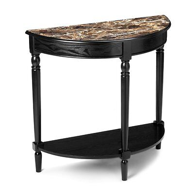 Half Moon Console Table Entryway Faux Marble Top French Country Decor Black Hall