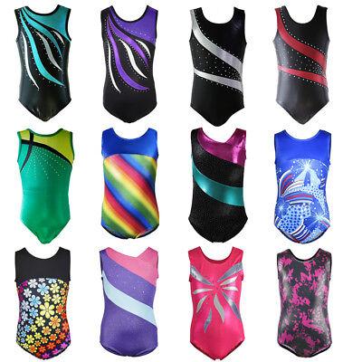 Little Girl Gymnastics Ballet Leotard Rainbow Rinestone Athletic Dancewear 4-10Y