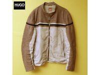HUGO BOSS JEFFO men's biker-style leather jacket size 54
