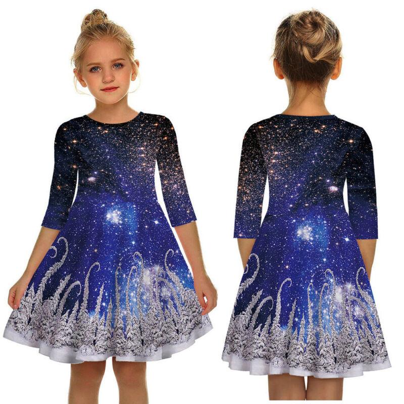 Teen Toddler Kids Girl Casual Party 3D Print Christmas Dress