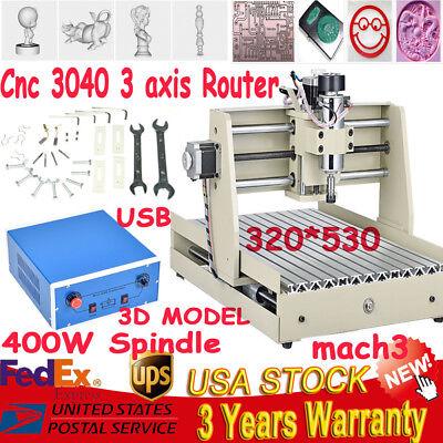 Cnc Router 3040 Diy 400w 3-axis Engraver Engraving Milling Machine Desktopusb