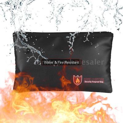 Fire Water Resistant Document Money Bag Pouch Fireproof Protection Storage Well