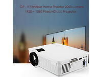 BRAND NEW,GP-9 Portable Home Theater HD LCD Projector 2000 Lumens 1920 x 1080 P,BLACK