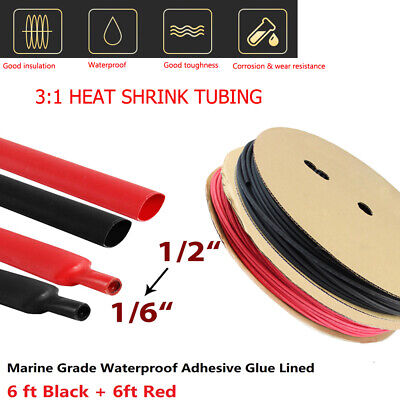 Black Red Heat Shrink Tubing 31 Wire Cable Wrap Electric Waterproof 12