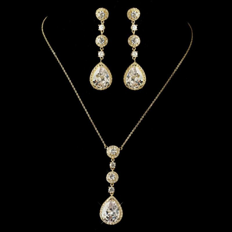 Bridal Gold Round & Teardrop CZ Crystal Necklace & Earrings Wedding Jewelry Set