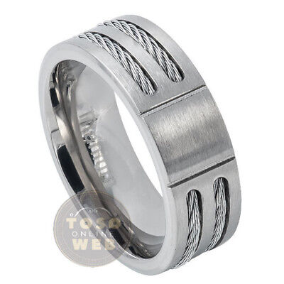 Men's Pipe Cut Edge Titanium Wedding Band, 8mm Double Cable Center, Comfort Fit Cable Comfort Fit Wedding Band