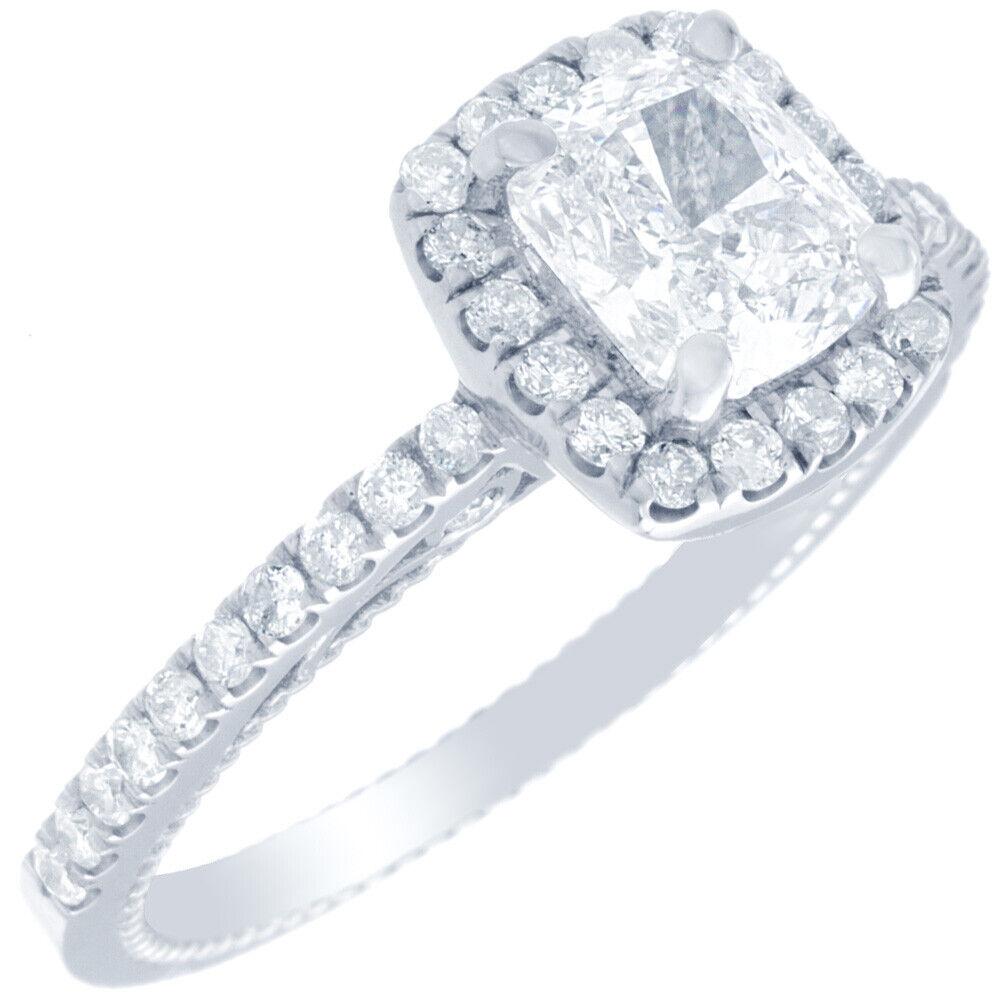 GIA Certified Cushion Cut Diamond Engagement Ring 1.77 carat 18k White Gold 1