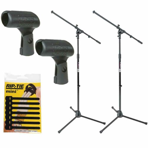 On-Stage MS7701B Mic Stands Tripod Euro Boom Microphone Stand 2 Pack + Mic Clips