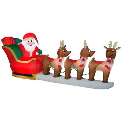 Home Accents Holiday 12 ft Pre-Lit LED Giant-Sized Inflatable Santa and Sleigh