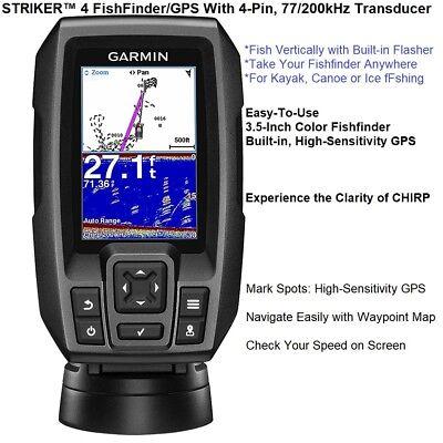 Garmin STRIKER™ 4 FishFinder/GPS, With Waypoint Map And 77/200kHz TM Transducer  200 Khz Gps Fishfinder