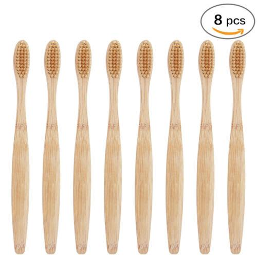 8-Pack Bamboo Toothbrush 100% Natural Organic Medium Bristle BPA-Free Bristles Health & Beauty