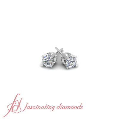 1 Ct Round Cut Diamond GIA Certified Solitaire Stud Earrings Prong Set 14K Gold 1