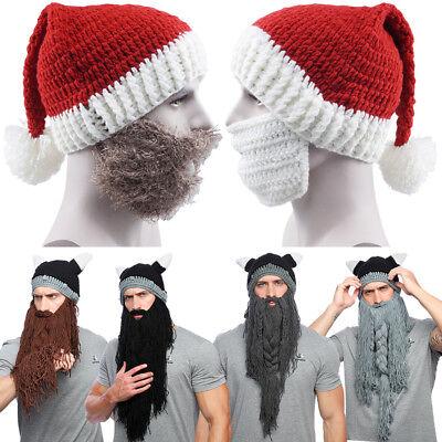Men Knitting Novelty Funny Hip Hop Viking Horn Hat Wool Xmas Party Cosplay - Xmas Hats Novelty