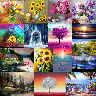 Full Drill Landscape Flower 5D Diamond Painting Cross Stitch Embroidery Decor UK