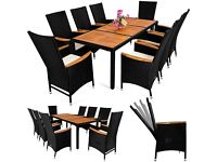 Poly Rattan Garden Furniture Table and Chair Set 8 Seater