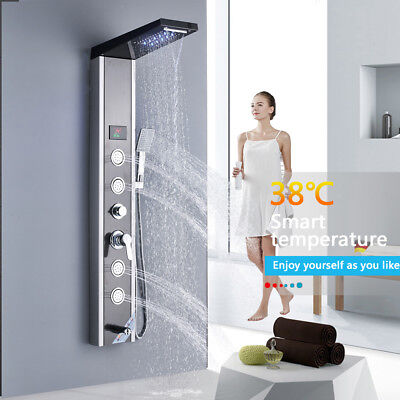 ELLO&ALLO Shower Panel Tower LED Rain Waterfall Massage Syst