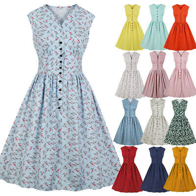 UK Plus Size Women 1940s 50s Vintage Rockabilly Evening Party Audrey Swing Dress