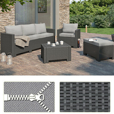 BICA Colorado Lounge Set Polyrattan Gartenmöbel Rattanoptik Sitzgruppe grau