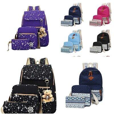 3Pcs Girl Backpack School College Bag Women Shoulder Bag Rucksack Travel Satchel