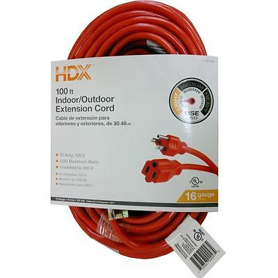 100 ft. 16 Gauge Indoor/Outdoor Extension Cord Heavy Duty Electrical Power Cable ()